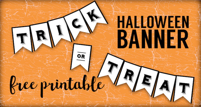graphic relating to Halloween Printable Decorations referred to as Trick or Deal with Banner Absolutely free Printable Halloween Crafts