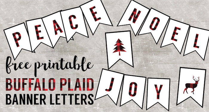 graphic about Printable Christmas Banner identify Buffalo Plaid No cost Printable Banner Letters - Paper Path Style
