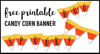 Free Printable Halloween Banner Candy Corn Letters. Candy Corn printable complete alphabet letters to creat any Halloween decor sign. Spooky, Boo, Happy Halloween.