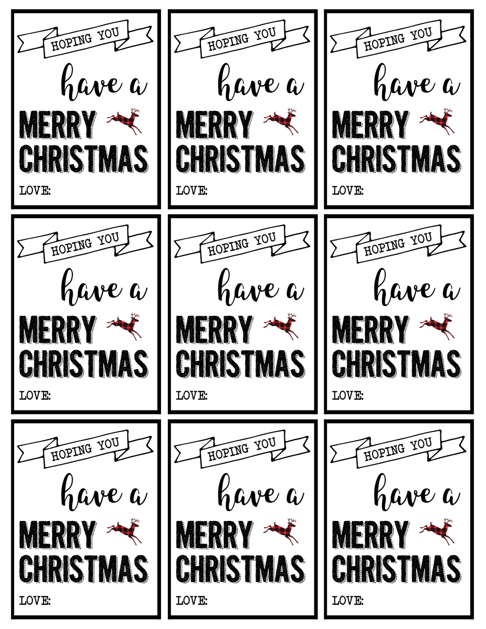 Free christmas gift tags black and white