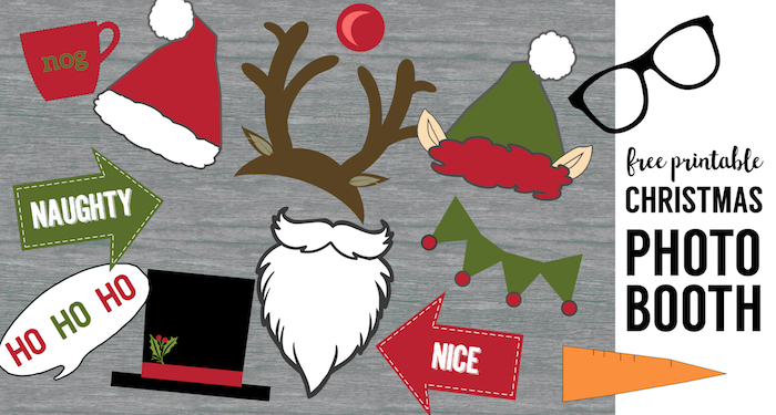 free christmas photo booth props printable
