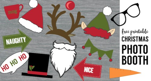 Free Christmas Photo Booth Props Printable. Easy DIY Christmas photo booth props free printable for your Christmas party fun. Christmas photo booth ideas.