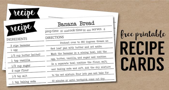 Free Recipe Card Template Printable , Paper Trail Design