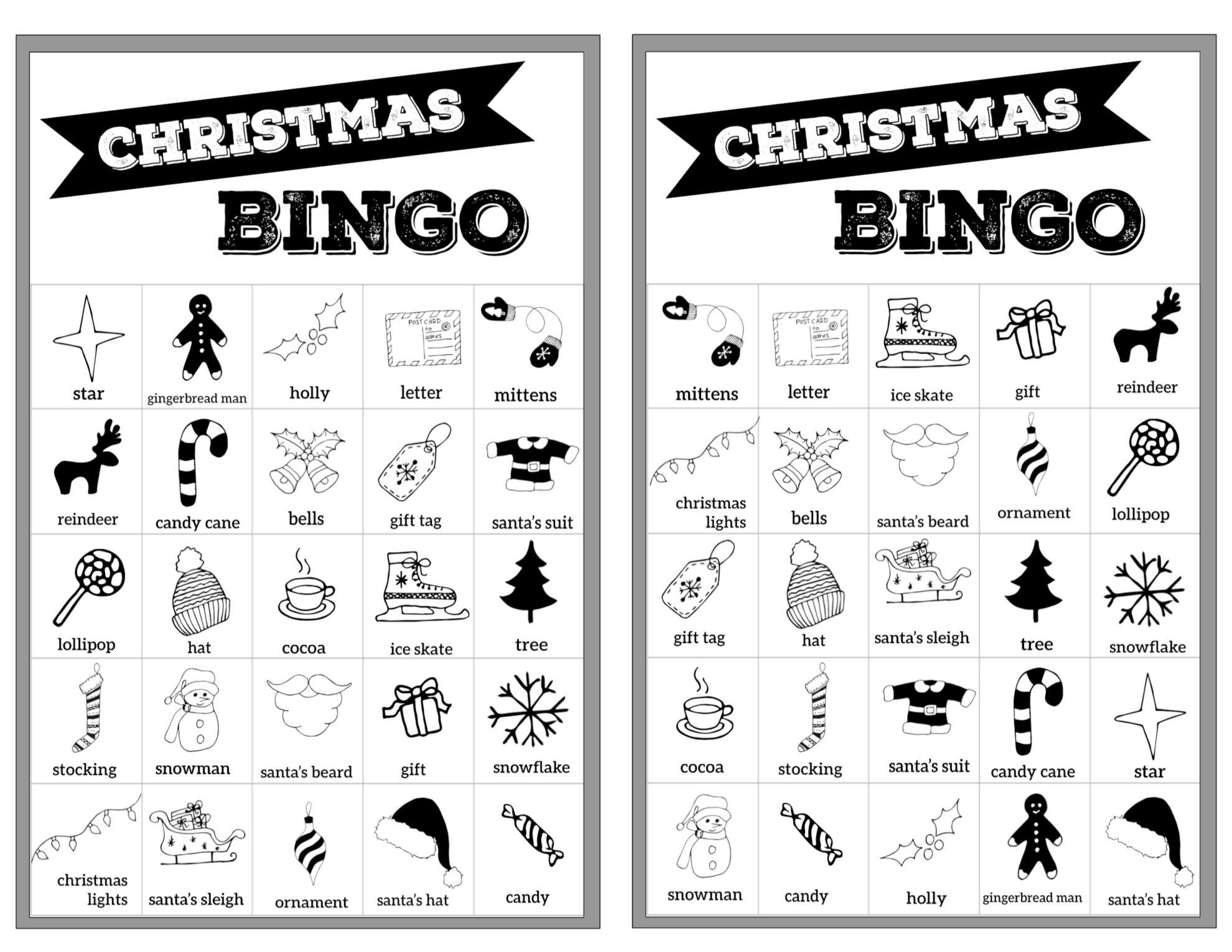 Free Christmas Bingo Printable Cards