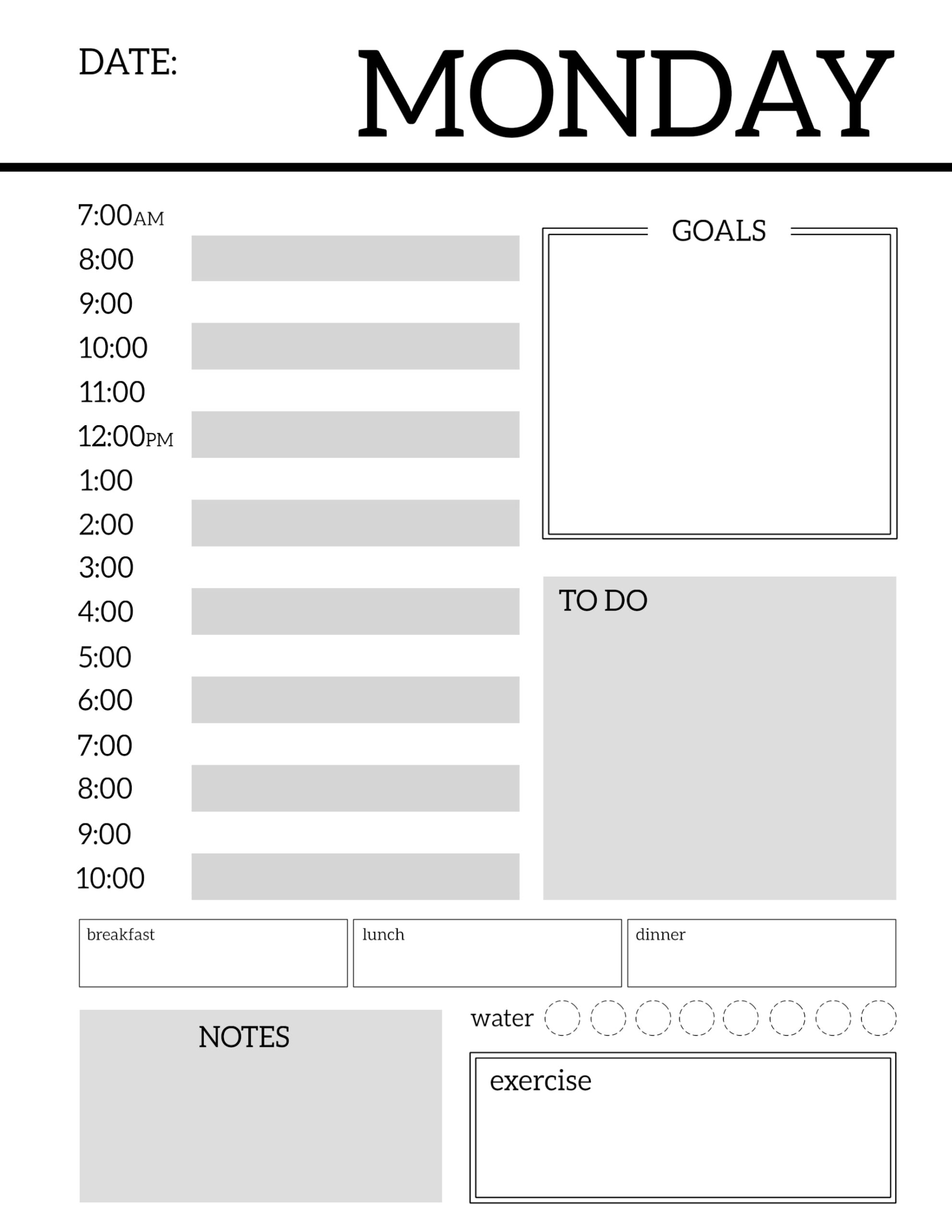 Daily planner printable template sheets paper trail design for Planner design