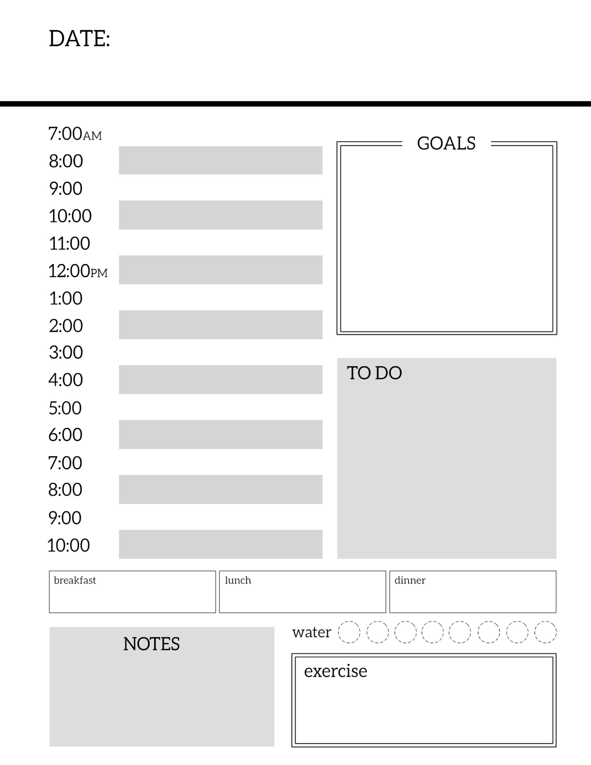 Free Daily Planner Pages To Build Your Own Organizer Or ...  Daily Planner Sheets