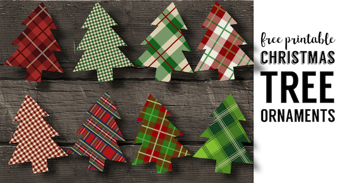 plaid christmas tree ornaments printable
