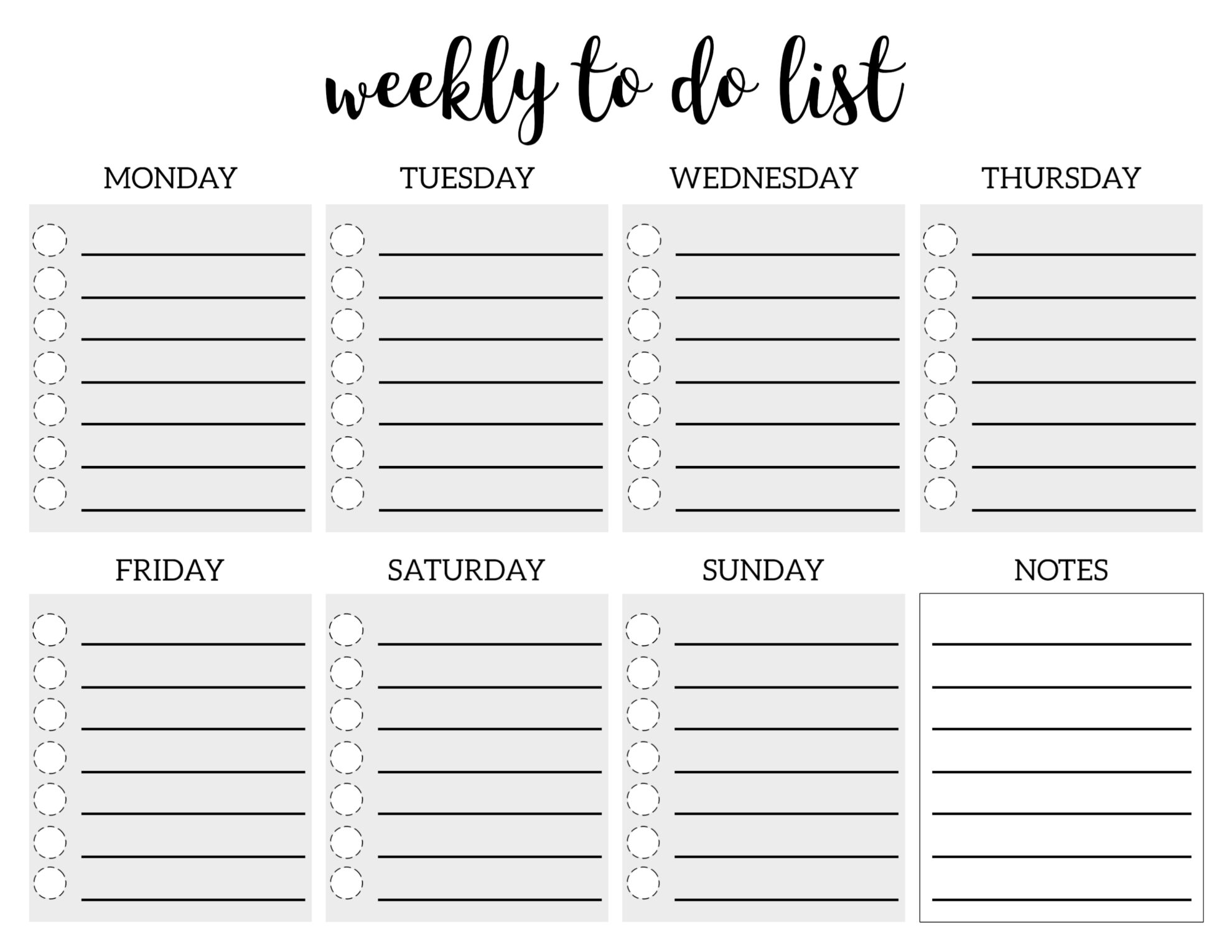 Weekly To Do List Printable Checklist Template Paper Trail