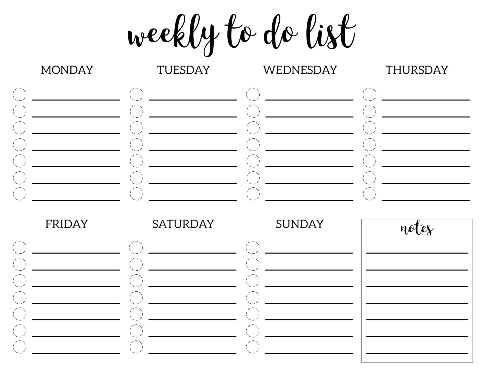 Weekly To Do List Printable Checklist Template