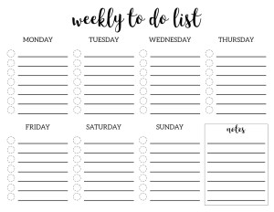 Weekly To Do List Printable Checklist Template. DIY weekly to do list printables for planner organization. Organize your family or office. #papertraildesign #organizationprintables #organize #plannerprintables