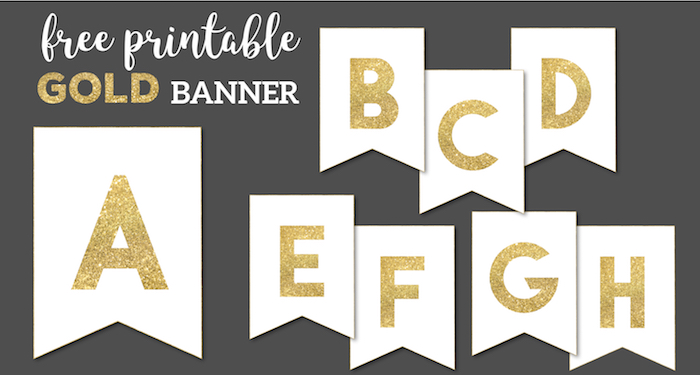 image about Happy Anniversary Banner Free Printable identified as Gold No cost Printable Banner Letters - Paper Path Structure