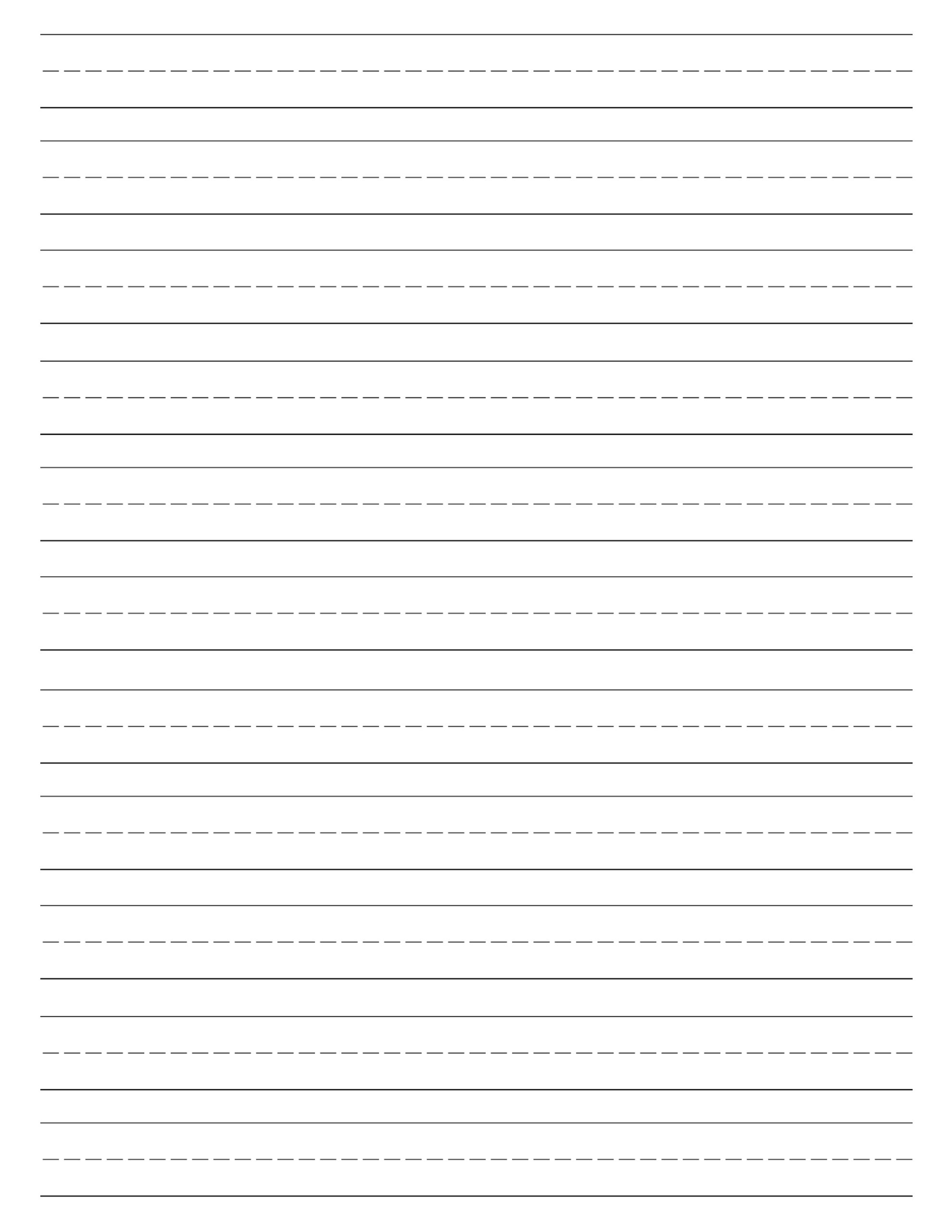 Free printable lined paper handwriting paper template for Learning to write paper template