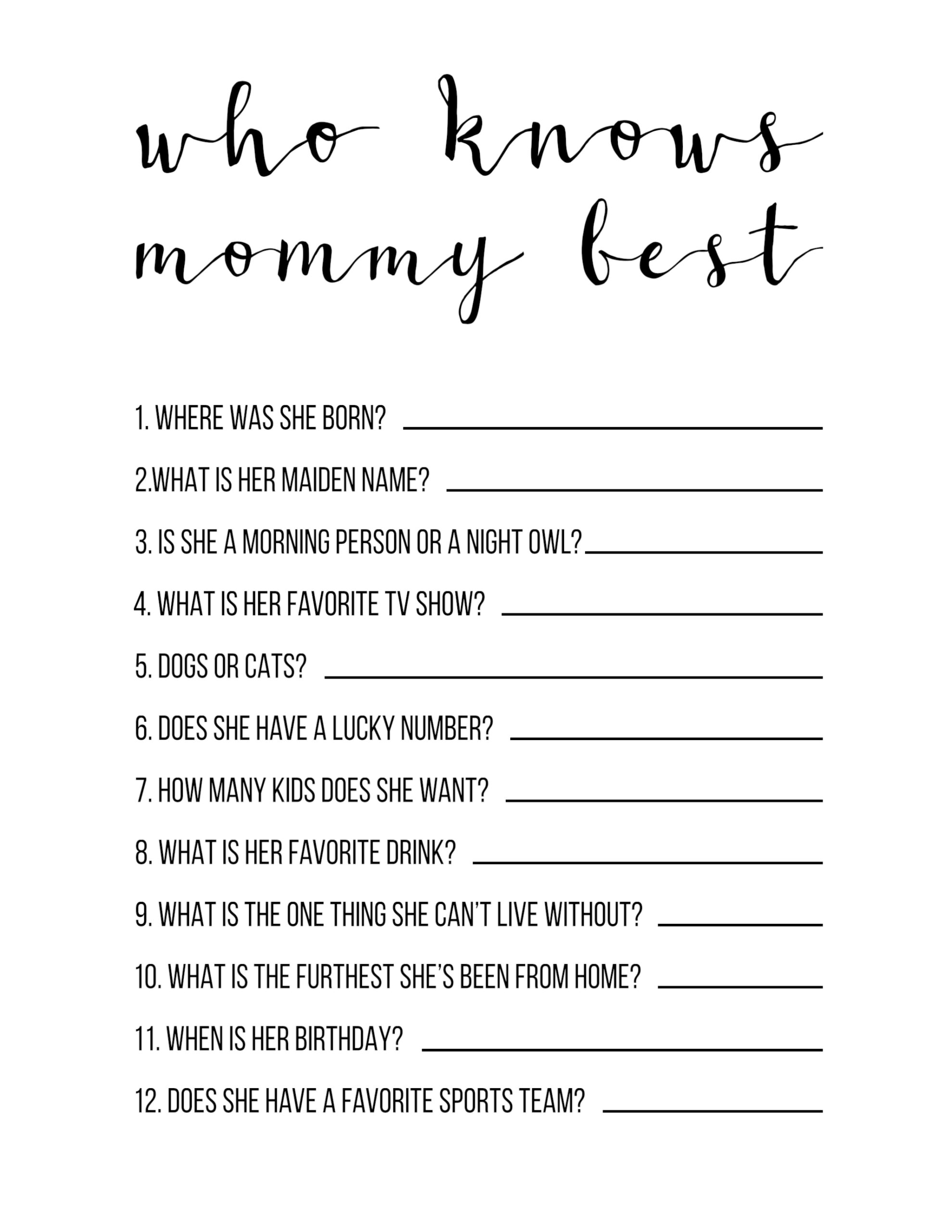 Baby Shower Games Free Printable Who Knows Mommy Best