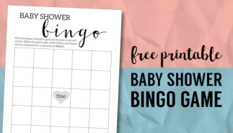 Baby Shower Bingo Printable Cards Template. Simple, Easy, DIY baby shower game free printable for baby shower. Fun baby shower ideas. #papertraildesign #babyshowerideas #babyshowergames #DIYbabyshower