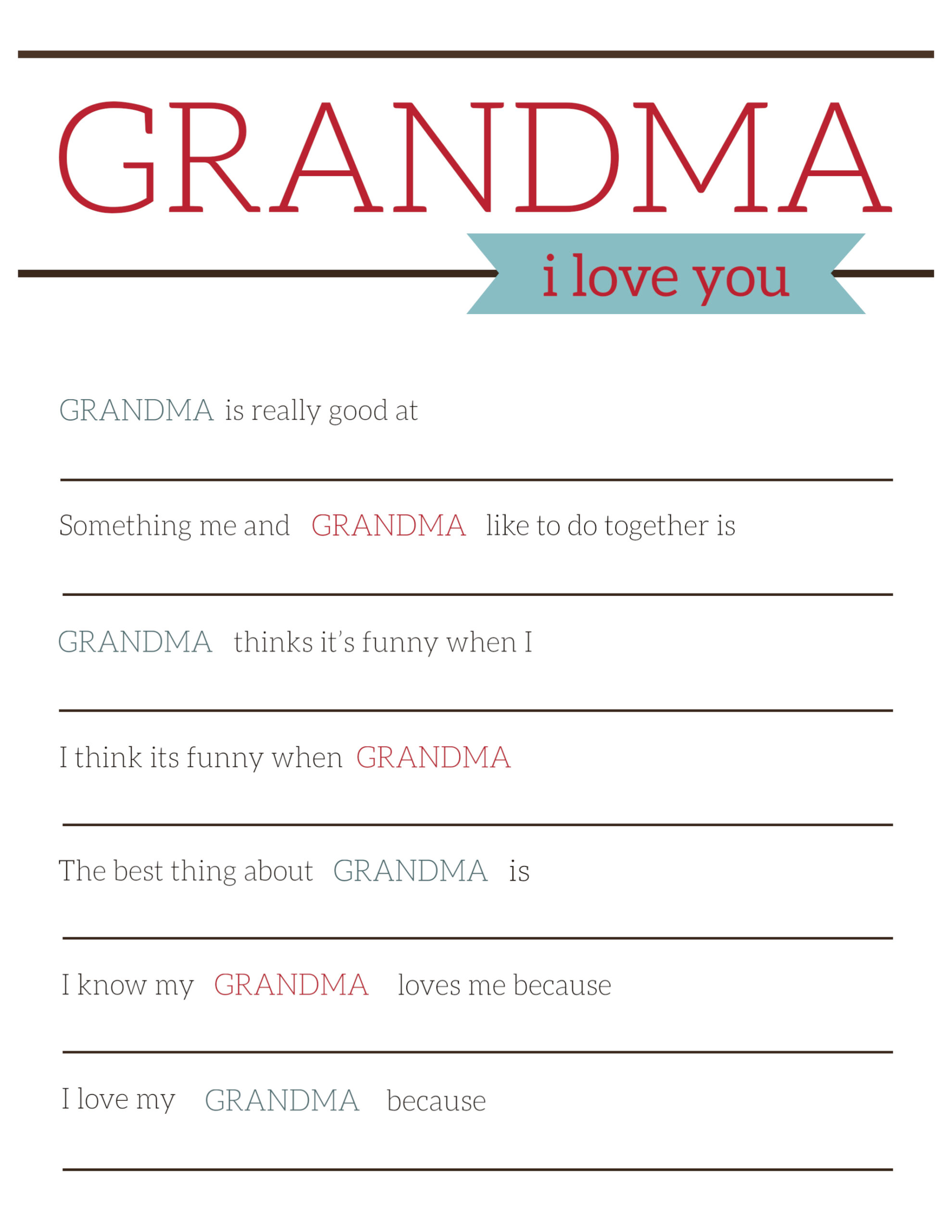 Grandma Gifts for Mother's Day - Printable Card - Paper ...