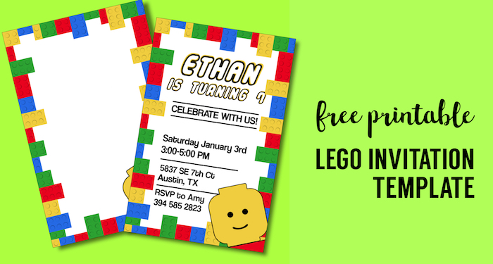 image relating to Printable Party Invitations identified as No cost Printable Lego Birthday Social gathering Invitation Template