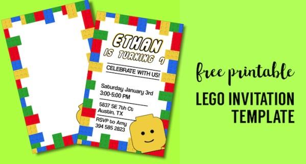 Free Printable Lego Birthday Party Invitation Template. Editable DIY kids birthday party invitaiton or lego baby shower invitation. #papertraildesign #lego #birthdayparty #legobirthday