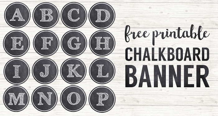 photo relating to Chalkboard Stencils Printable named Chalkboard Banner Letters Absolutely free Printable Alphabet - Paper