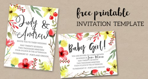 Pink & Yellow Flowers Free Printable Invitation Template. Easy customizable wedding, birthday, or baby shower, or bridal shower invitation. #papertraildesign #wedding #weddinginvitation #weddinginvitations