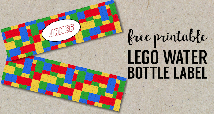 photograph relating to Free Printable Water Bottle Labels for Birthday named No cost Printable Lego Drinking water Bottle Labels - Paper Path Style