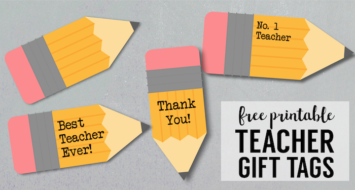 Free Printable Teacher Gift Tags {Pencil}. Teacher appreciation end of the year gifts. Best teacher gift ideas. Customizable. #papertraildesign #teacherappreciation #teachergift #teachergiftidea