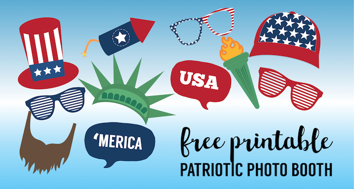 graphic about Free Printable Photo Booth Props Template named 4th of July Picture Booth Props No cost Printable - Paper Path