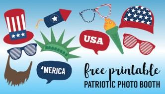 4th of July Photo Booth Props Free Printable. Fun idea for patriotic Independence Day activity at your Fourth of July party or BBQ. #papertraildesign #4thofJuly #July4th #independenceday