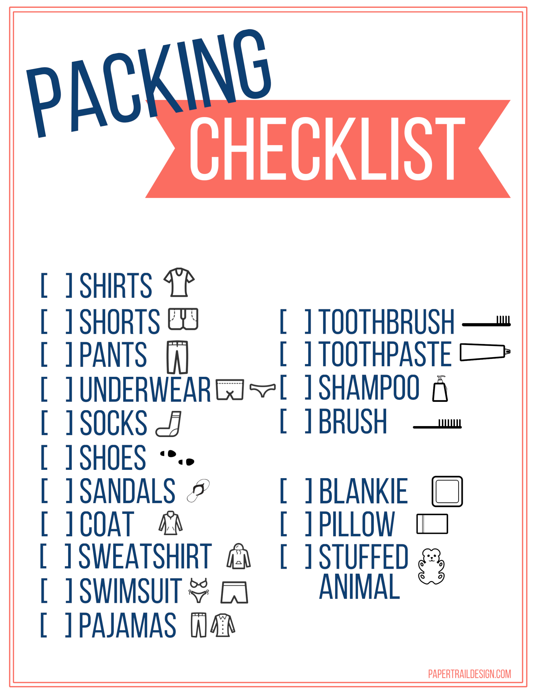 Free printable vacation packing list template for kids paper trail click the following links to print the free printable vacation packing list template for kids maxwellsz