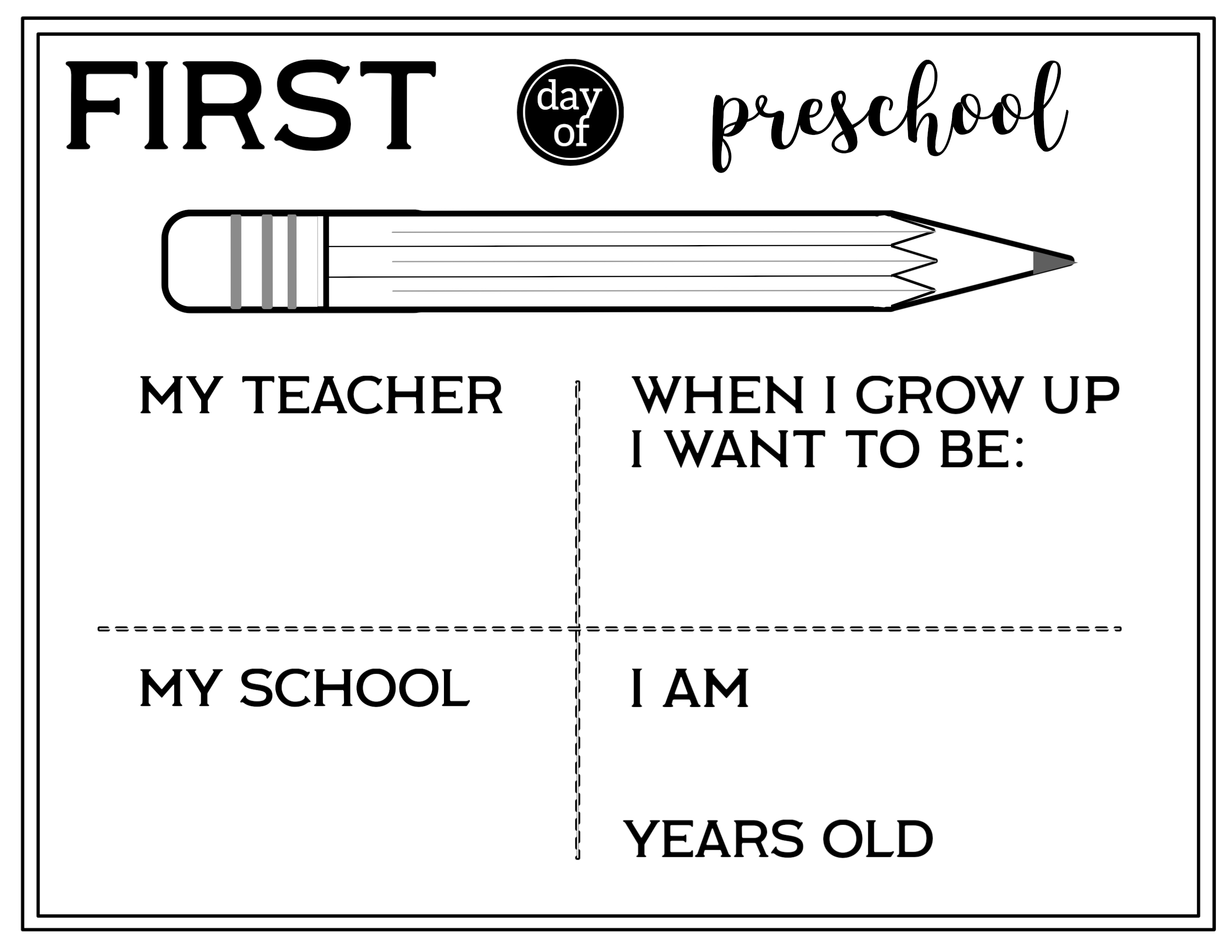 Free Printable First Day Of School All About Me Sign