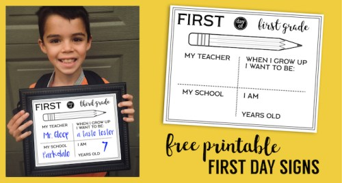 Free Printable First Day of School All About Me Sign Fill In. Preschool, Kindergarten, First grade through high school signs. #papertraildesign #firstday #firstdayofschool #school