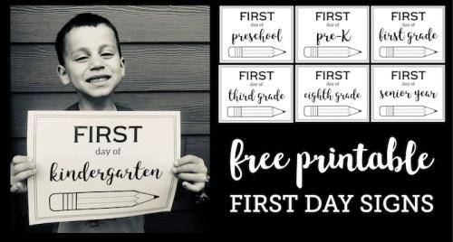 Free Printable First Day of School Sign {Pencil}. Preschool, kindergarten, and first grade through high school first day of school picture signs. #papertraildesign #backtoschool #firstday #firstdayofschool