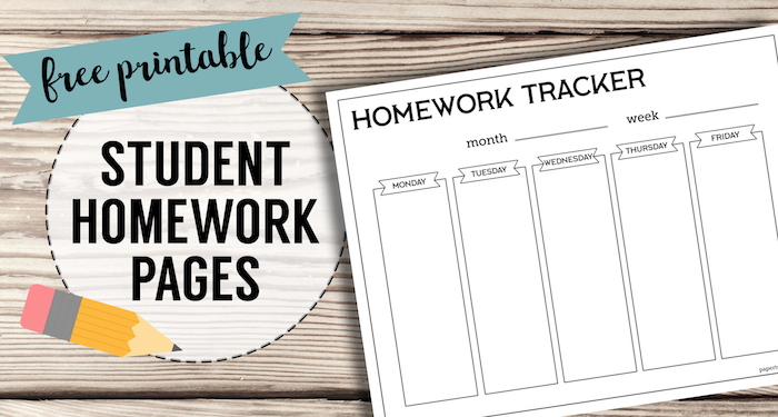 Free Printable Student Homework Planner Template - Paper Trail Design