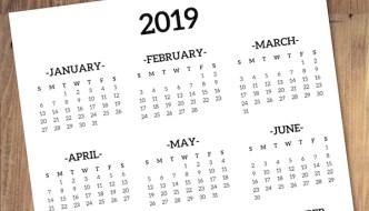 Calendar 2019 Printable One Page