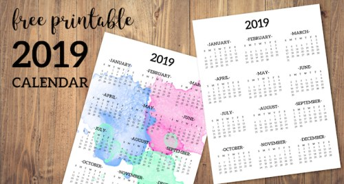 Calendar 2019 Printable One Page. Free printable 2019 full year desk calendar on one page. 2019 year at a glance. #papertraildesign #calendar #2019 #deskcalendar
