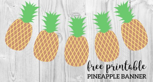 Pineapple Party Banner Free Printable. Easy DIY pineapple decor idea for your home, or for a pineapple or summer party. Pineapple fun. #papertraildesign #pineapple #pineappleparty #pineappledecor