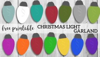 Christmas Lights Garland Free Printable Holiday Decor. Simple and easy DIY decorating idea on a budget. Holiday Christmas lights banner. #papertraildesign #christmas #christmasdecor #christmasprintables #christmaslights