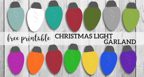 Christmas Lights Garland Free Printable Holiday Decor. Simple and easy DIY decorating idea on a budget. Holiday Christmas lights banner. #papertraildesign #christmas #christmasdecor #christmasprintables #christmaslights