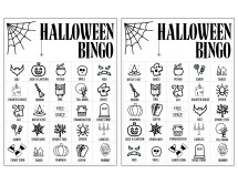 Halloween Bingo Printable Game Cards Template. Fun kids Halloween party game. Easy Halloween activity with 16 different Bingo cards. #papertraildesign #kidshalloween #halloweenbingo #halloweenprintables
