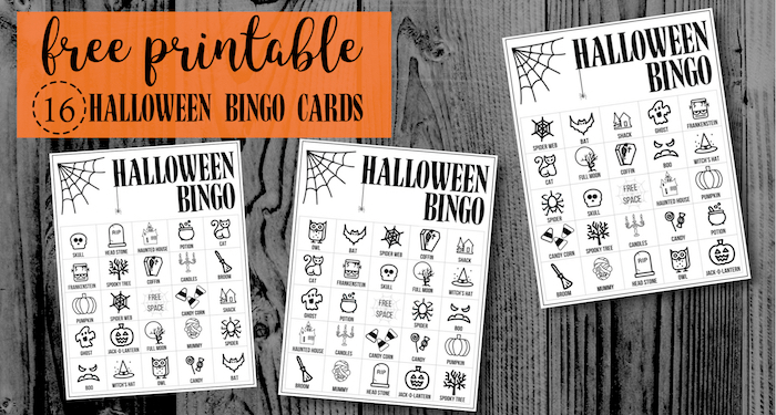 halloween bingo printable game cards template