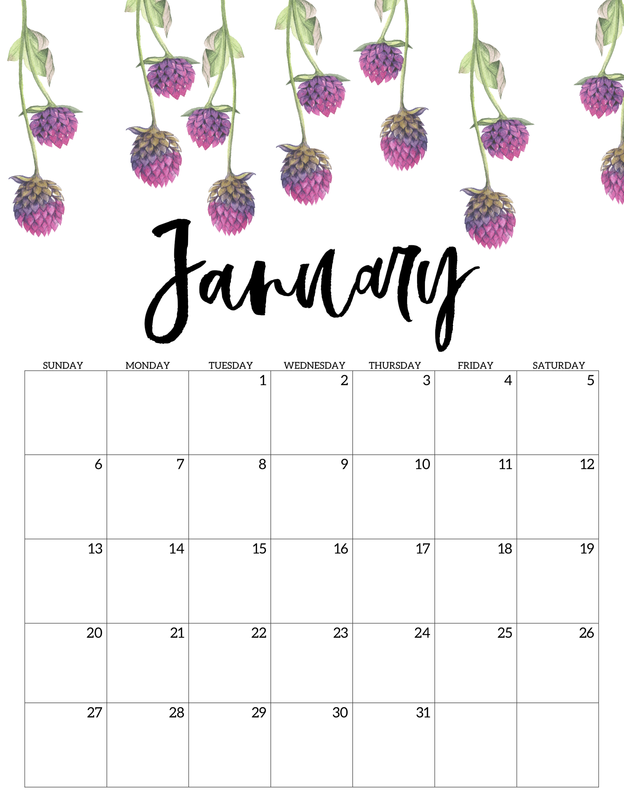 click the following links to print the free printable calendar 2019 floral