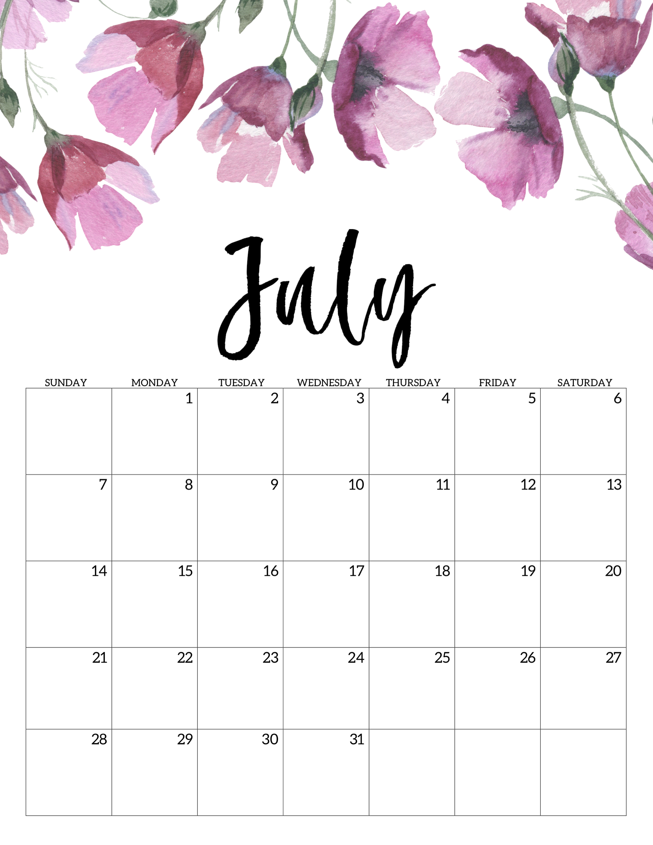 image relating to Cute Printable Calendars named No cost Printable Calendar 2019 - Floral - Paper Path Style and design