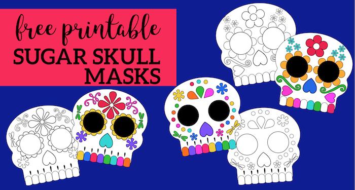 Day of the Dead Masks Sugar Skulls Free Printable. Skeleton mask printables to color in for Halloween activity, costume, dia de los muertos, Coco activity. #papertraildesign #sugarskulls #dayofthedead #diadelosmuertos