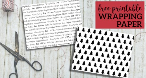 Free Printable Christmas Wrapping Paper. Black and white Christmas wrapping paper. Tree wrapping paper and Merry Christmas Seasons Greetings. #papertraildesign #Christmas #wrappingpaper #christmaswrapping