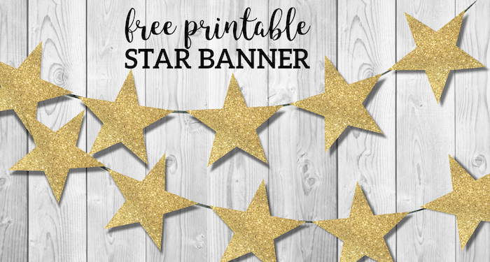 gold star banner christmas garland printable