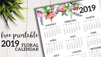 Free Printable 2019 Calendar Yearly One Page Floral. 2019 year at a glance calendar poster. Office desk organization and decor. #papertraildesign #calendar #2019 #2019calendar #calendar2019 #newyear