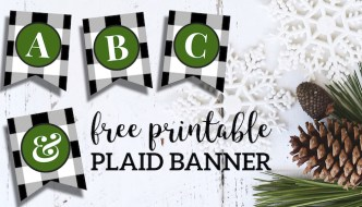 Free Printable Christmas Banner Letters Template. Holiday banner decor sign idea. Black and white plaid check alphabet and numbers. #papertraildesign #christmas #buffaloplaid #christmasbanner #christmasdecor