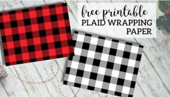 Rustic Buffalo Plaid Wrapping Paper Free Printable. Woodland rustic buffalo check Christmas or birthday wrapping paper. Easy gift wrap. #papertraildesign #plaid #buffaloplaid #buffalocheck #gift #giftwrap #freeprintable