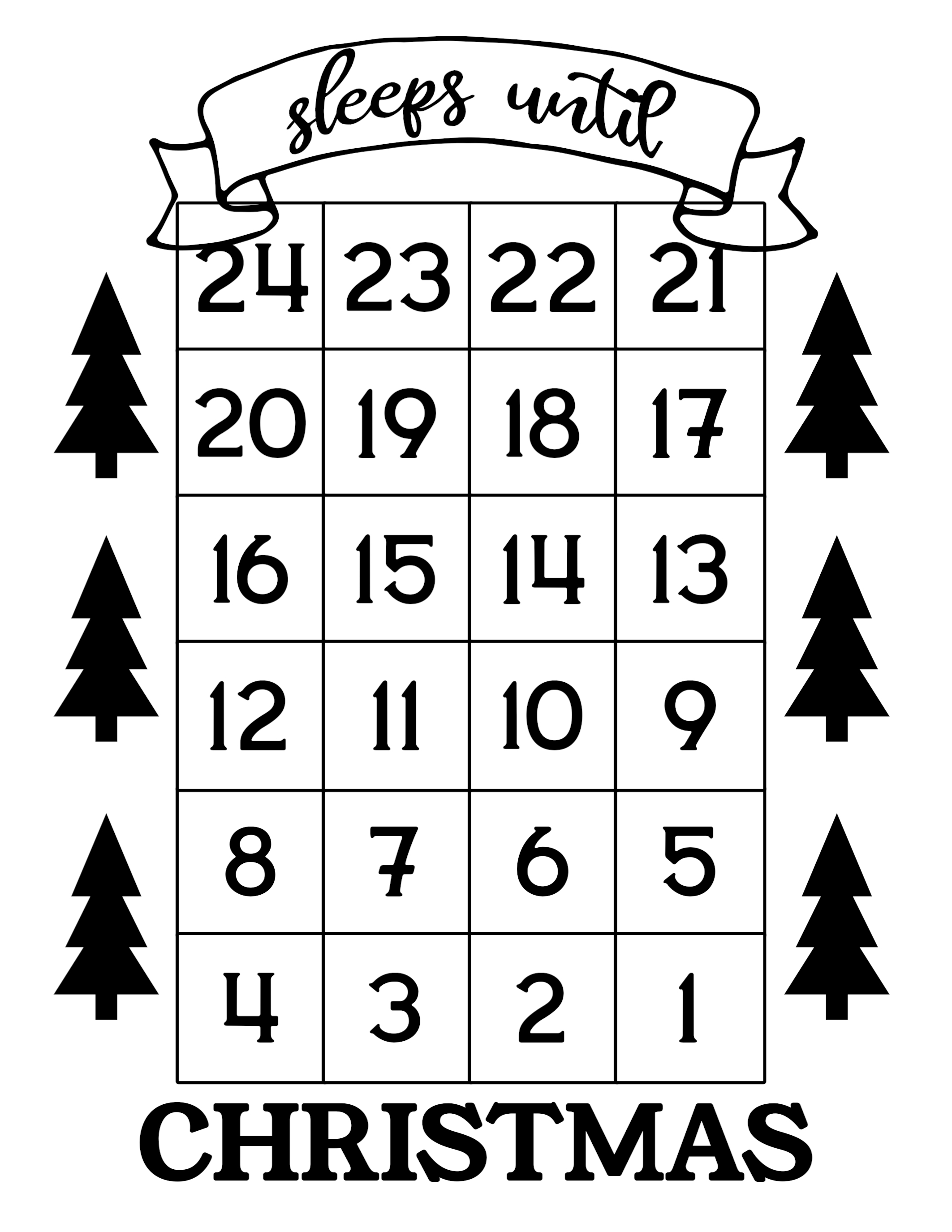 click the following links to print the how many days until christmas free printable - Number Of Days Until Christmas