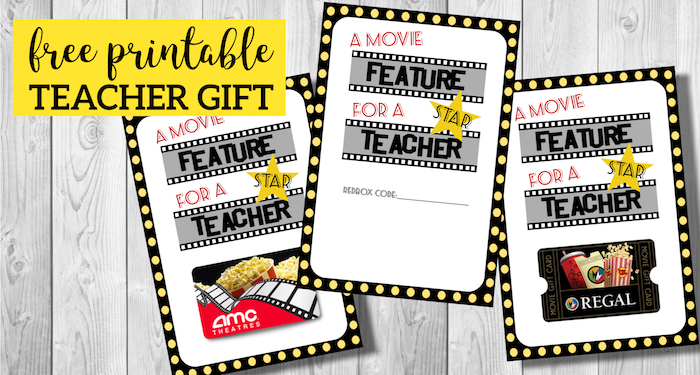 image about Printable Redbox Gift Cards identified as Simple Instructor Presents Video Free of charge Printable - Paper Path Layout