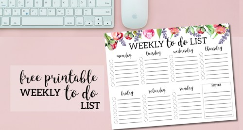 Floral Weekly To Do List Printable Checklist Template. DIY daily organization idea. To do list planner. Stay organized new year, summer, back to school. #papertraildesign #todolist #todo #plannerprintables #floral #floralplanner #floralprintables #organize #organization #getorganized #frugal #desk